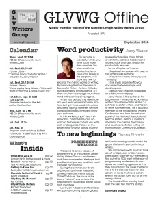 Front page: redesigned GLVWG newsletter