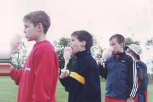 Boys eating cotton candy at Warren County Fair