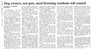 Dog Owners should be licensed, Free Press
