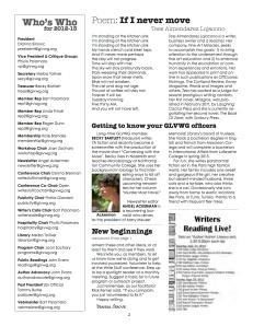 Inside of the redesigned GLVWG newsletter