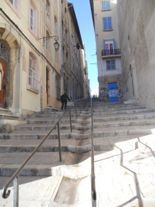 Peaceful stairs in Marseille, unless you're struggling with post-Africa digestive issues