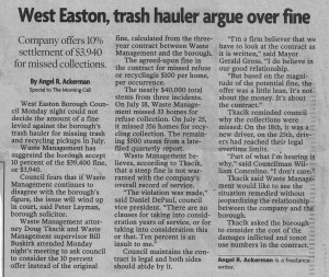 Waste Management asks West Easton to lower fine