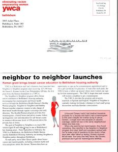 Newsletter: YWCA back panel