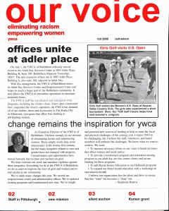 Newsletter: YWCA front page, two color