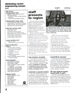 Newsletter: YWCA inside page