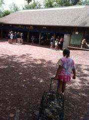 My daughter approaching Fowler Pavilion at Mosey Wood