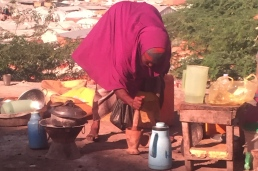 She then started grinding coffee