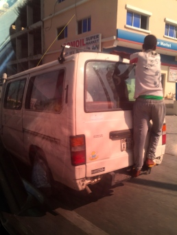Boy on van